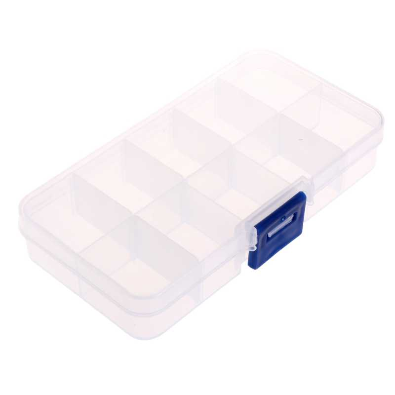 Plastic 10 Compartments Fishing Hook Bait Lure Box Tackle Storage Container Case