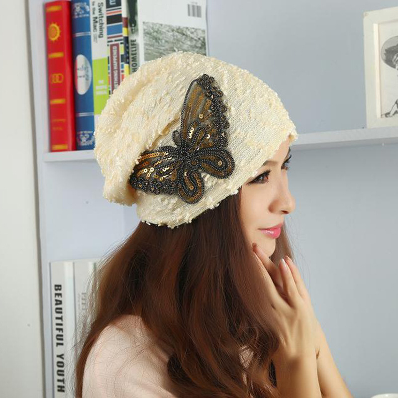 2017 Lace skullies Autumn Beanies Winter Warm Chapeau Women Hat Female Cotton Knitted Cap Ladies bonnet Sequins Butterfly Design skullies