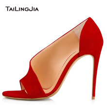 Women Sandals Pointed Toe High Thin Heels Summer Red Hollow Buckle Shoes For Ladies 2018 Fashion Open Toes Pumps Plus Size 34-46 women pumps fashion high heels femals shoes pumps hollow pointed toes women heels shoes sweet pink red stiletto 10 5cm g0093