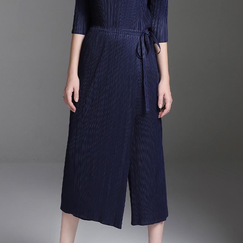 LANMREM 2019 Spring Pleated Clothing New Fashion Bandage Waist Fake Two piece Casual Elastic Waist Trousers
