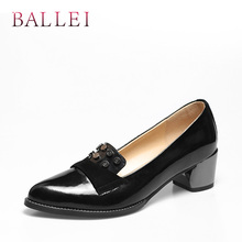 BALLEI Elegant Woman Pumps High Quality Genuine Leather Round Toe Soft Square Heels Shoes Classic Sexy Solid Vintage Pumps D36 doratasia new fashion genuine leather square high heels square toe solid bowtie shoes woman sexy spring pumps big size 33 43