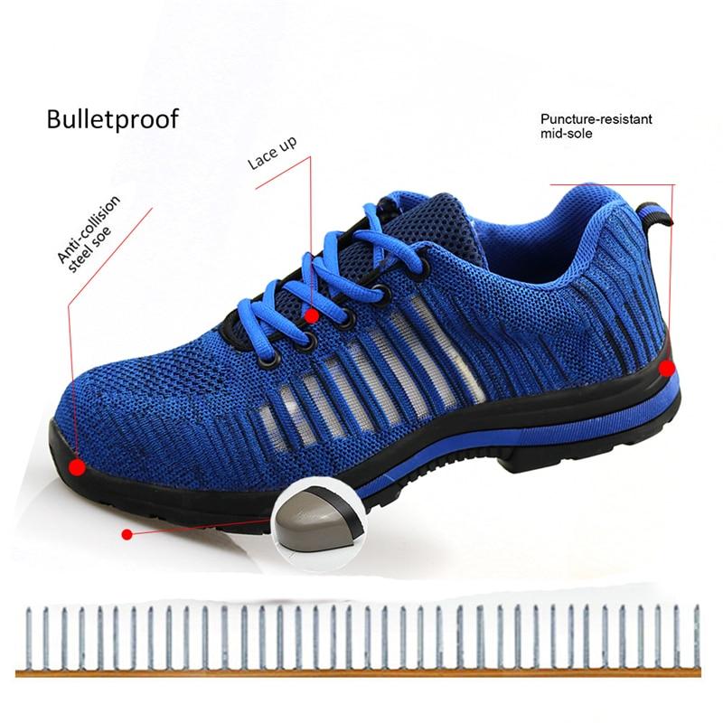 Sécurité De Orteil Hommes balles Chaussures Semelle Plein En Atrego Acier Pare Travail Bleu gris Indestructible Air I0qxzqdTw