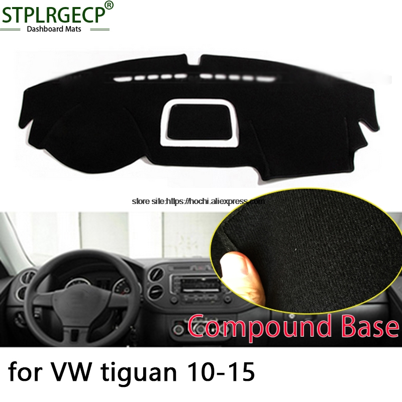 STPLRGECP double layer Black Dash Mat For Volkswagen VW tiguan 10-15 Dashmat Black Carpet Car Dashboard Automotive interior Mats stplrgecp double layer black dash mat