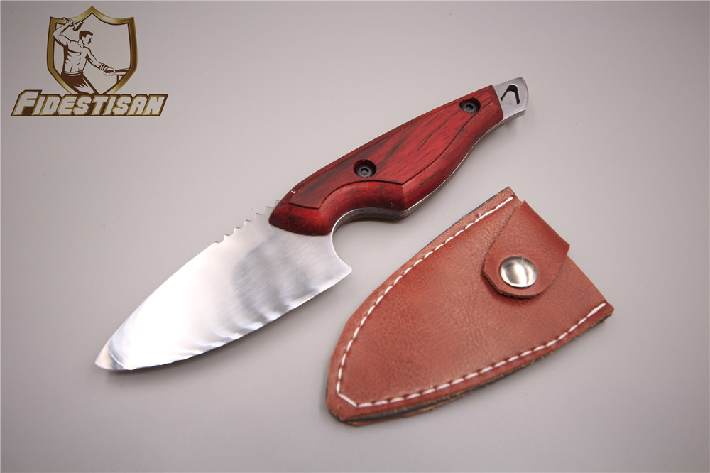 1095 handmade steel blade outdoor survival hunting tactical knifes fixed blade knife tops mahogany handle Plane forging holster