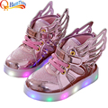 New Boys Girls LED Light Up Children Shoes For Kids Luminous Glowing PU Leather Breathable Sneakers Flats Casual Sports Shoe