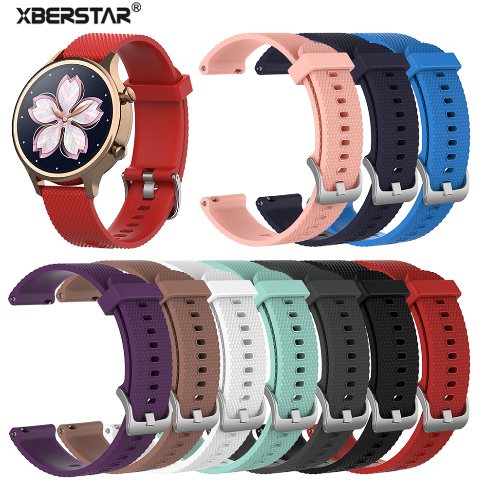 18mm Silicone Wrist Band Strap For Ticwatch C2 Rose Gold Version For Garmin Vivoactive 4S Replacement Women's Wrist Bracelet