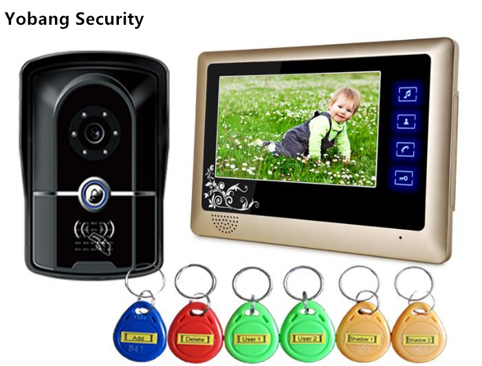 Yobang Security freeship 7 TFT 700TVL Door Monitor Video Intercom Home Door Phone RFID Card Reader Door Camera with rain cover