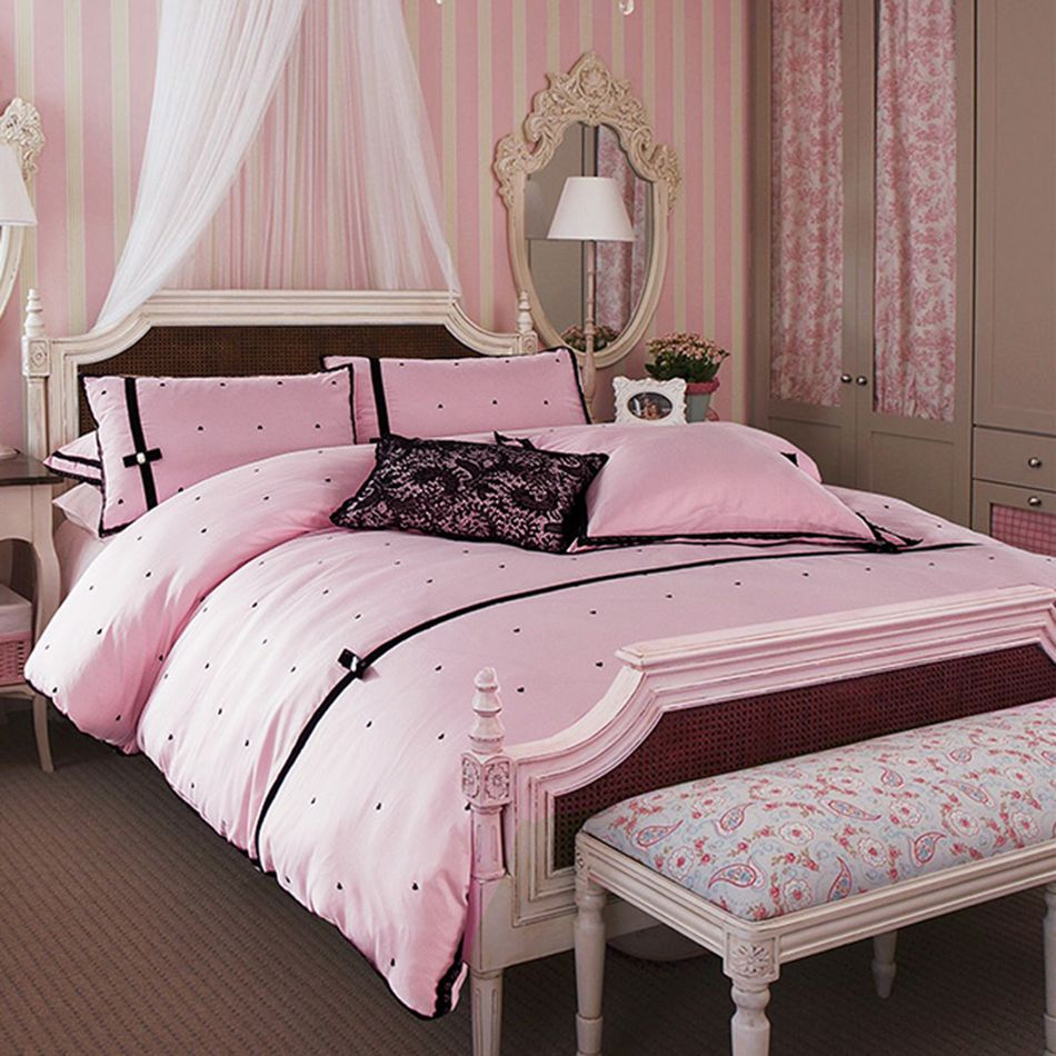 Black and pink bed sheets - Black Love Dots Bed Linen Pink Princess Style Bedding Sets For Girls 4pcs Including Pillowcases Bed
