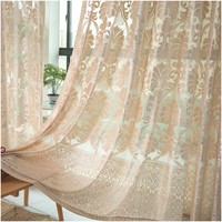 Tulle Curtains Window Treatments White Fabrics For Living Room Bedroom Polyester Knitted Jacquard Sheer Curtain Single Panel