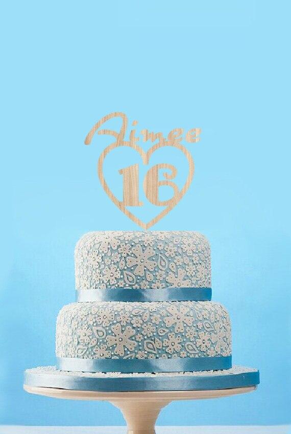 Sweet 16 Birthday Cake Topper Custom Baby Name Rustic Wooden Cake