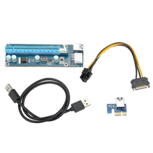 6pcs Mixed wholesale PCI-E 1X to 16X Adapter USB 3.0 PCI-E PCI Express Extender Riser Card  with Power Cable For Bitcoin Mining