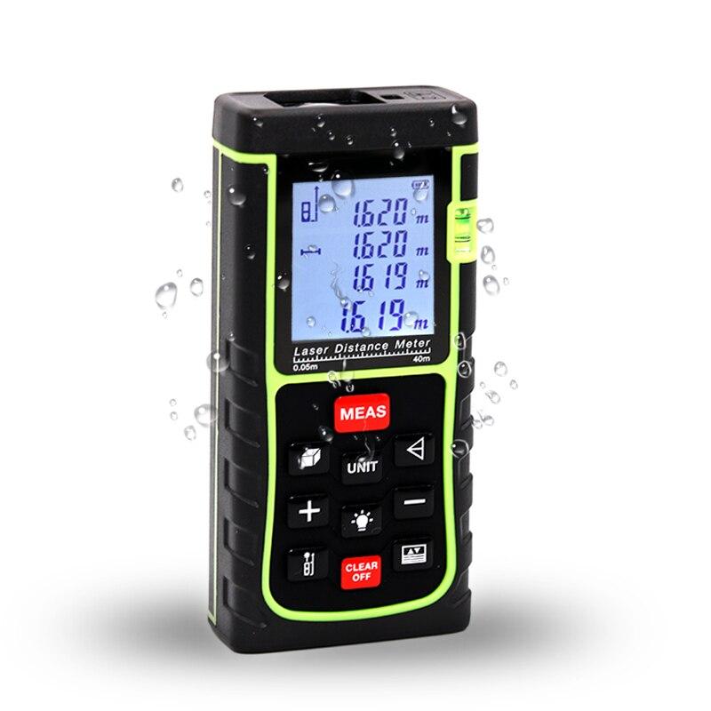 40 m medidor de distancia láser IP54 electrónica Digital de precisión 1,5mm telémetro cinta portátil/Área de volumen herramienta