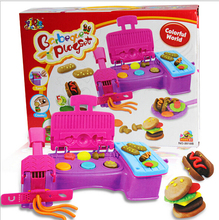 Free shipping Creative DIY 3D Play Dough toy Plasticine extrusion mould machine hamburger kit Educational kids