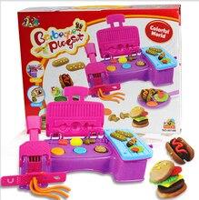 Бесплатная доставка Творческий DIY 3D Play Тесто игрушка Пластилина экструзионные машины, прессформы гамбургер комплект Образовательные детские игрушки