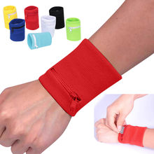 Zipper Hand Band Tennis Running Sports Wristband Key Card Mp3 Case Running Wrist Support Cotton Wrist Wallet 7 Colors(China)