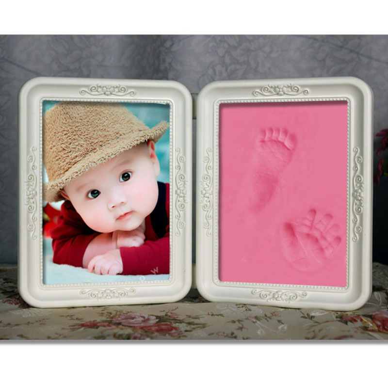 cute baby photo frame diy handprint or footprint soft clay safe inkpad non toxic ceremony