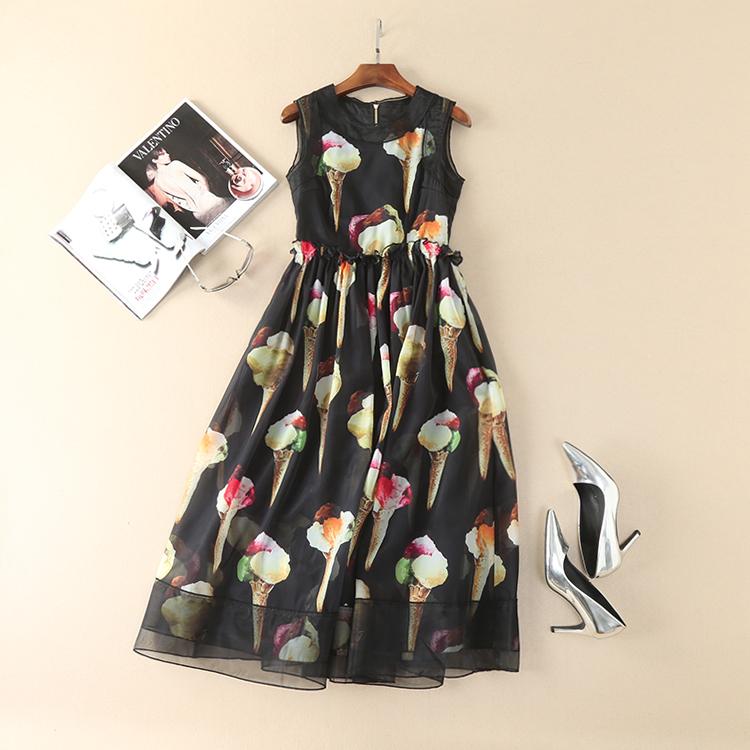 Occident Hot-Selling Ice Cream Printing Runway Dress 170405Z01