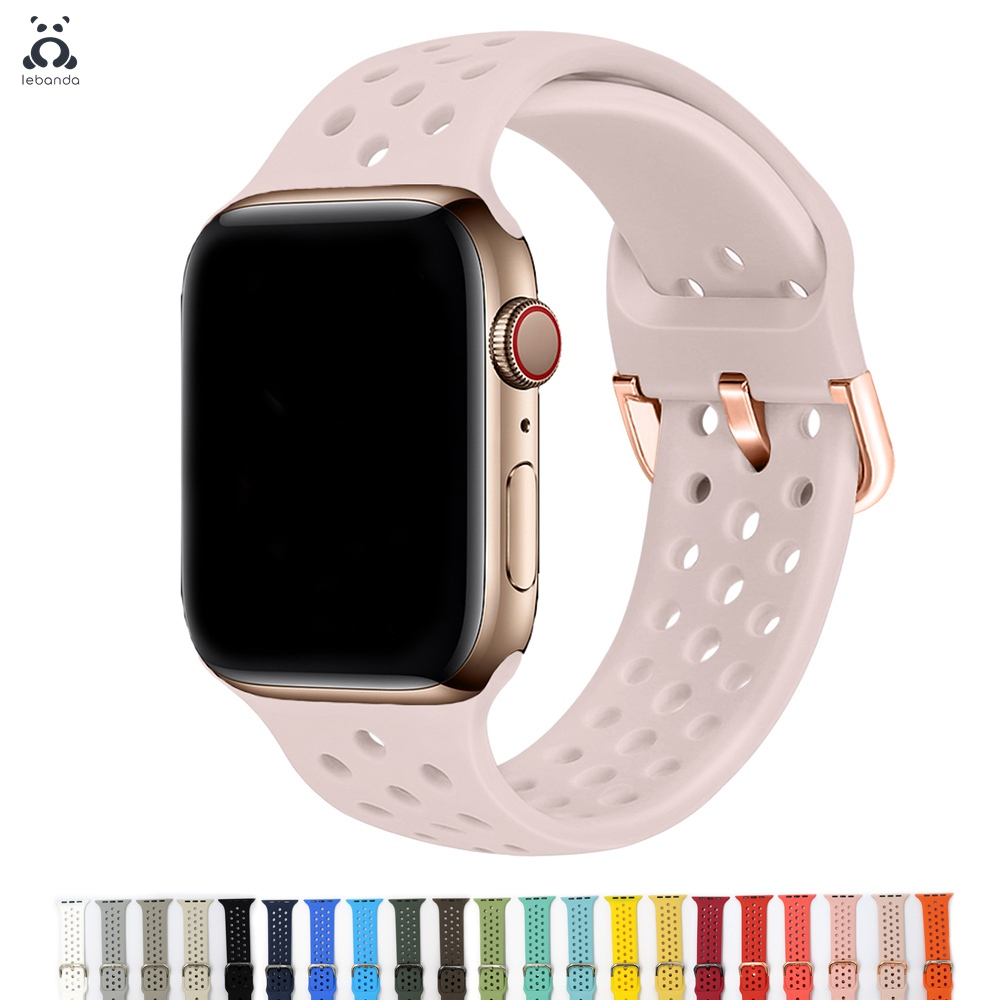Lebanda Sport Band For Apple Watch 5/4/3/2/1 Strap For IWatch Silicone Band Soft Breathable Replacement 38/42/40/44mm
