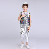 2018 Girls Sequin Ballroom Jazz Hip Hop Dance Competition Costume Tank Tops Shorts Jackets Coat for Kid Dancing Clothing Wear