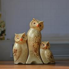 Yellow family Owl coruja ceramica owl figurines home decor ceramic handicraft crafts room decoration porcelain animal figurine