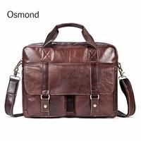Osmond Men Briefcases Male Genuine Leather Bags For Document Leather Laptop Bag Messenger Shoulder Bags Office Man Handbags