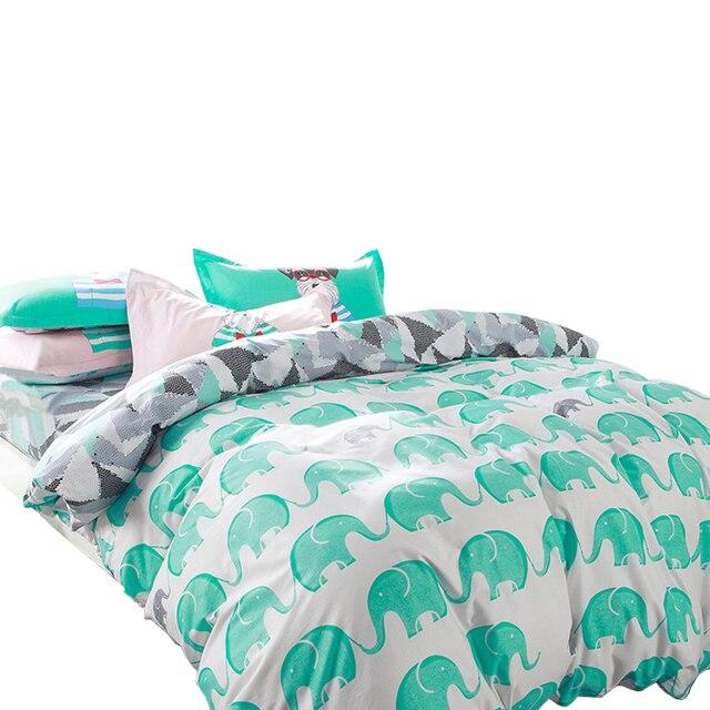 Svetanya слон постельного белья 100% хлопок 4 шт. постельное белье twin двойной Queen пододеяльник + Плоский лист + наволочка