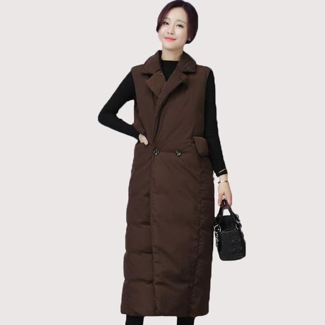 Rihschpiece Winter Jacket Long Vest Women Down Coats Quilt Parka Pocket Waistcoat Top Oversize Sleeveless Vests RZF877