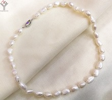 9x10mm white baroque pearl handmade necklace 17'' 43cm Women Jewelry necklace 925 silver clasp natural freshwater pearl