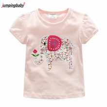 Jumingbaby 2019 Girls T shirt Kids T-shirt Animal Embroidery Summer Tops Costumes Vetement Enfant Fille Toddler Girl Clothes стоимость