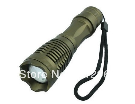 ,free shipping  12W 1800Lm Zoomable CREE XM-L T6 LED Flashlight Gray