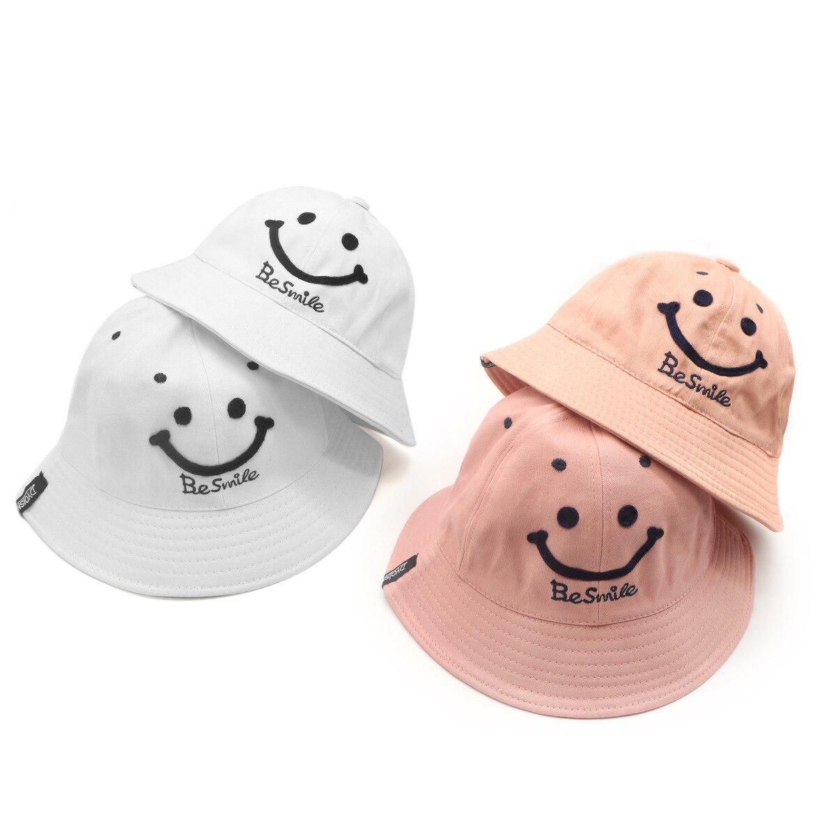 100% QualitäT Sommer Herbst Eltern-kind Sonne Kappe Sein Lächeln Eimer Hut Schwarz Weiß Grau Rosa Männer Und Frauen Nette Charakter Baumwolle Sonnenhut