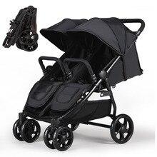 Коляска для близнецов Ultra Fold 2 детская коляска с 4 колесами ударопрочная, коляска для Близнецов с ножным тормозом, 2 детские коляски