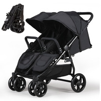 Twins Stroller Ultra Fold 2 Kids pram with 4 whees shock proof, Twins Pram with foot brake, 2 Kids Carriage