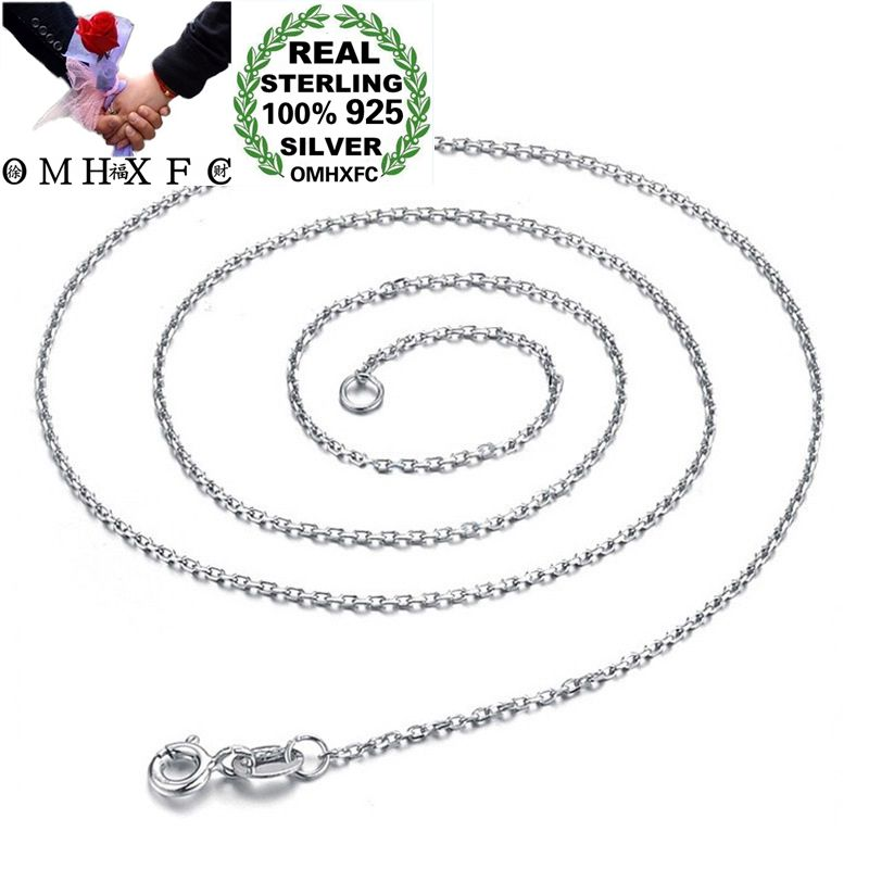 OMHXFC Wholesale European Fashion Woman Girl Party Birthday Gift White O Slim 100% S925 Sterling Silver Chain Necklace CH67OMHXFC Wholesale European Fashion Woman Girl Party Birthday Gift White O Slim 100% S925 Sterling Silver Chain Necklace CH67