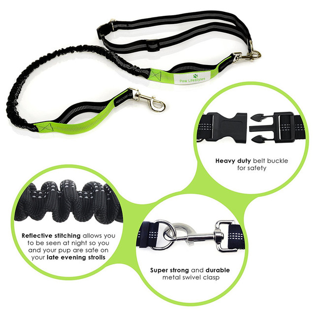 TAILUP Hands-free Running Dog Leash Dual Handle Running Leash with Extendible Bungee And Adjustable Waist Belt For Samoyed hound