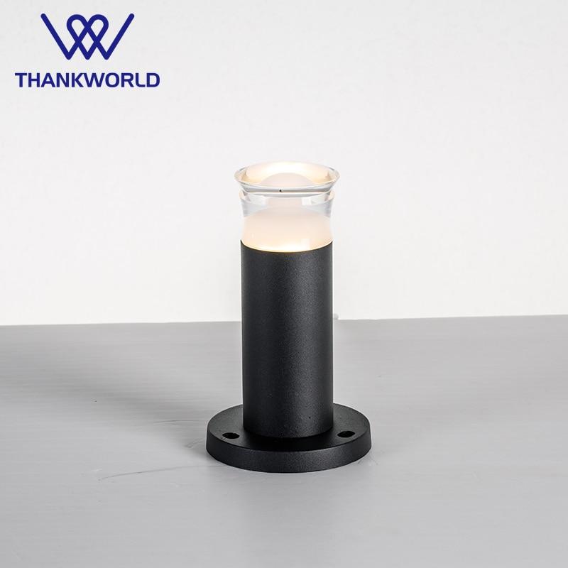 VW llamba lëndinë udhëhequr 3w 330lm dritë kopsht 220V alumini në natyrë ndriçim ip65 acilik udhëhequr llambë bollard shtyllë e zezë kopsht udhëhequr