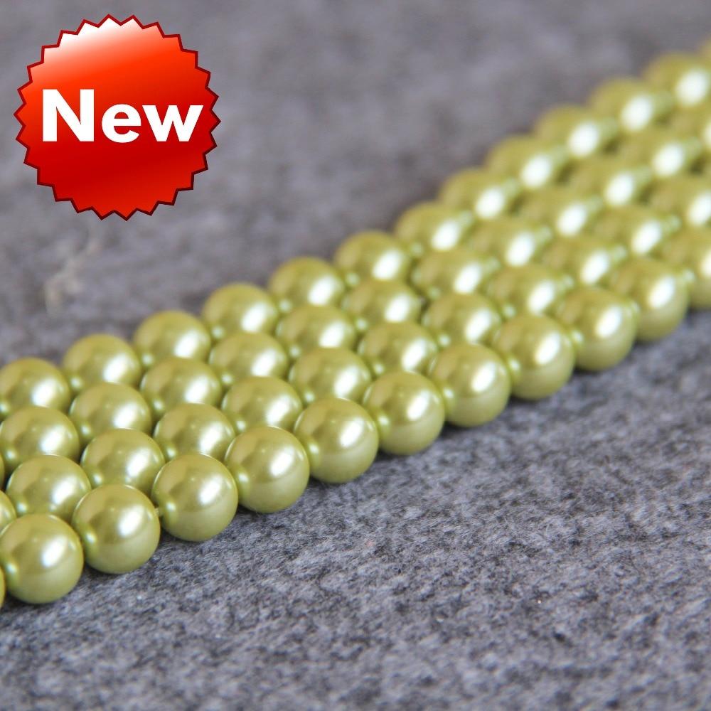 ᑎ‰8mm vert clair shell perle perles coquillage bricolage cadeaux