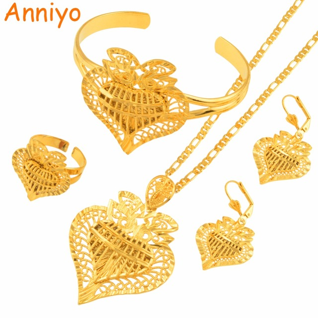 Anniyo Heart Dubai Jewelry sets Ethiopian Necklaces Earrings Ring Bangle African Gold Color Arab Wedding Bride Dowry #020506