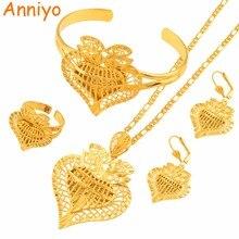Anniyo serce dubaj biżuteria ustawia etiopii naszyjniki kolczyki pierścień bransoletka afrykańskie złoto kolor arabska panna młoda Dowry #020506