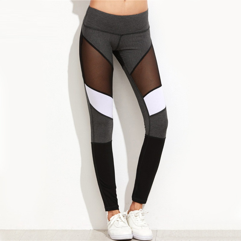 GERTU 2018 Nouvelle Arrivée Empiècements En Maille Leggings Casual Leggings Femmes Fitness Leggings Couleur Bloc Printemps D'été Workout Pants