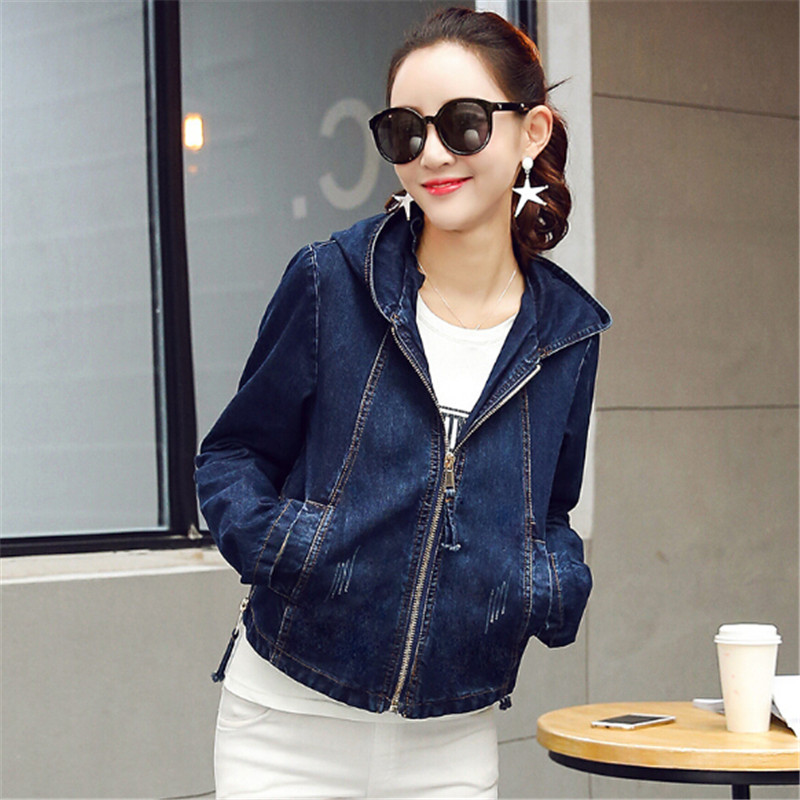 2018 Women   Basic     Jacket   Coat Hooded Outwear Slim Short Warm Overcoats Jeans Denim Female Coats &   Jackets