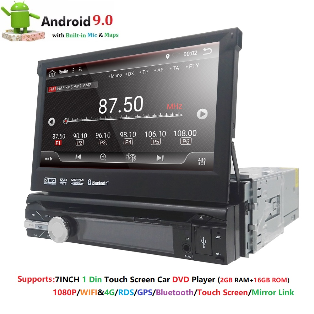 1 din Android 9.0 Quad Core DVD player Do Carro Universal GPS Wifi BT Radio BT 32 2 GB RAM GB SD 16 GB ROM 4G SIM LTE Rede SWC RDS CD