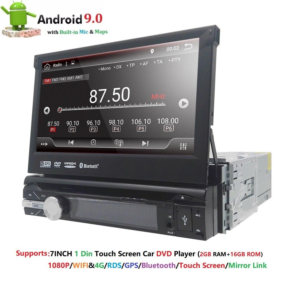 Universel 1 din Android 9.0 Quad Core lecteur DVD de voiture GPS Wifi BT Radio BT 2 GB RAM 32 GB SD 16 GB ROM 4G SIM LTE réseau SWC RDS CD