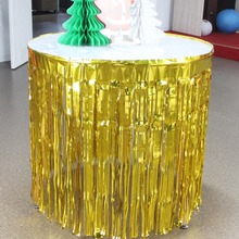 New Coming 1Pcs Gold / Sliver Decorative Table Skirt Decoration Metallic Curtain Birthday Party Wedding Baby Shower