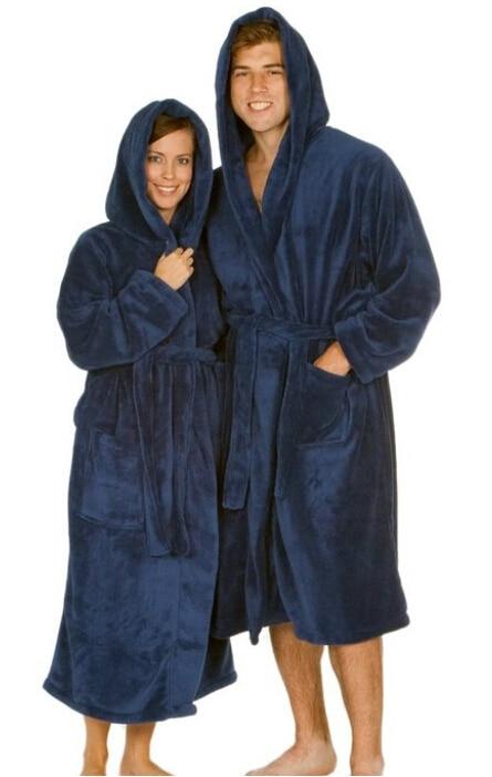 Stripe Dressing Gown Hooded Robe M L XL 2XL Mens Coral Fleece Super Soft Check
