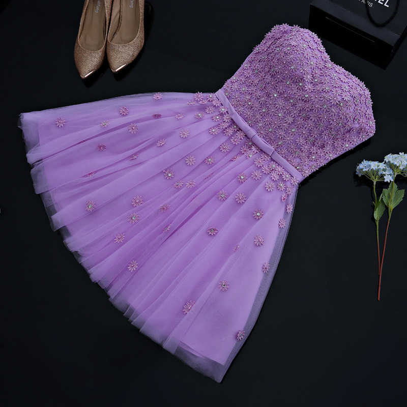 Free Shipping 2019 Designer New   Cocktail     Dresses   Sweetheart Lace Short Mini Floral Beaded Summer Beach Wedding Homecoming Gowns