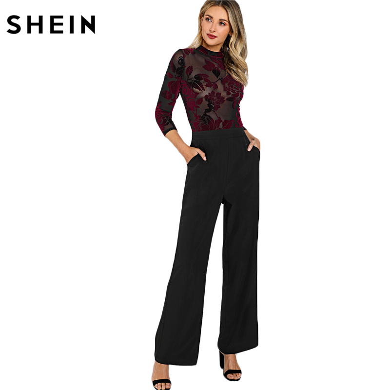 27def7008c SHEIN Women Jumpsuits Party Multicolor Three Quarter Length Sleeve High  Waist Flock Mesh Bodice Wide Leg Jumpsuit-in Jumpsuits from Women s  Clothing on ...