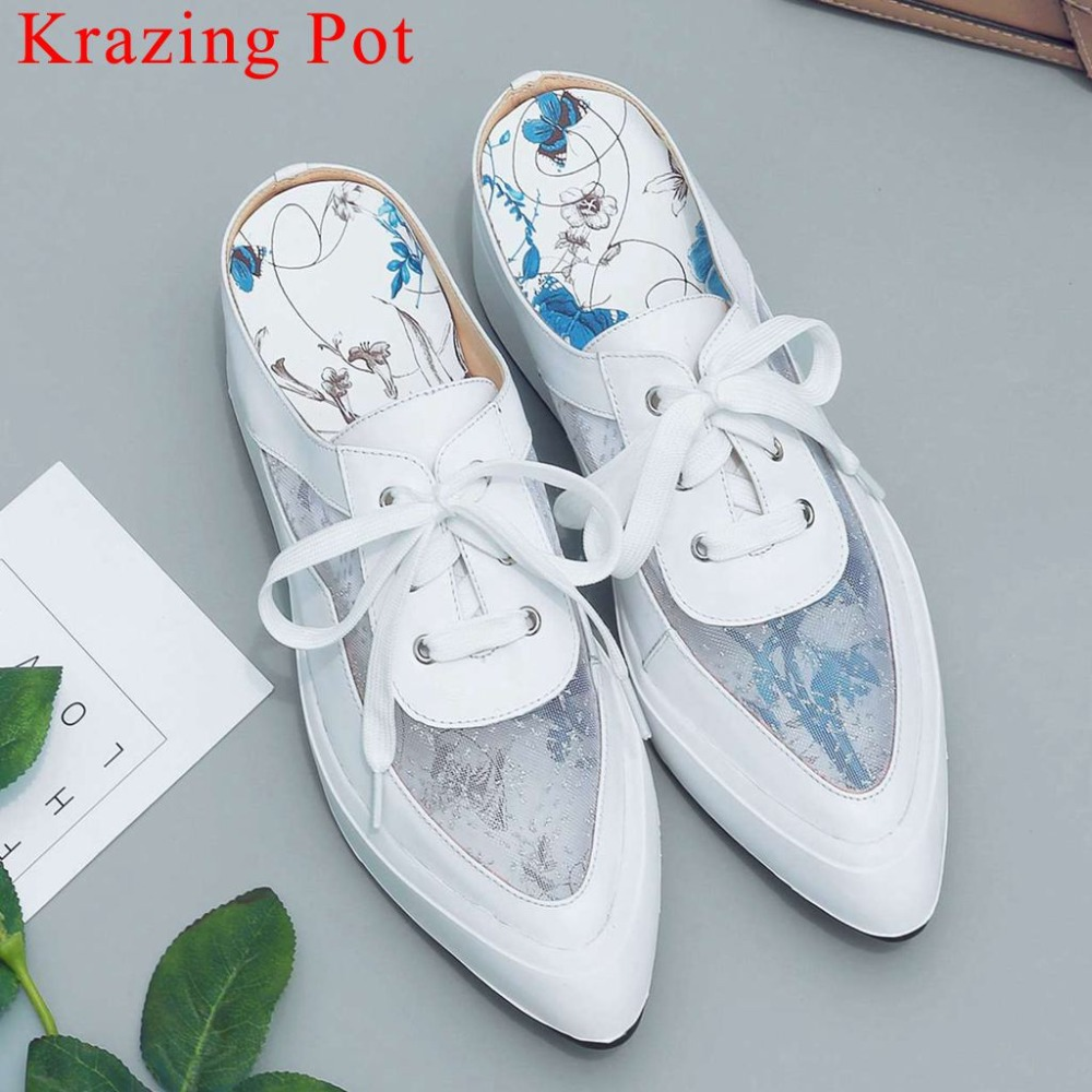 2019 artistic graffiti cow leather mesh sun protection simple mules pointed toe oxfords med bottom platform