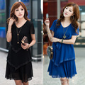 2015new arriving plus size women summer short sleeve chiffon dress loose slimming beaded border casual blue vestidos  S920
