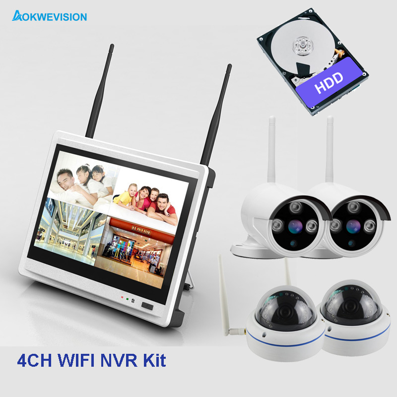 4ch 2MP dome diy indoor and outdoor security camera system 1080P wireless wifi system NVR kit with 12.5 inch LCD Screen